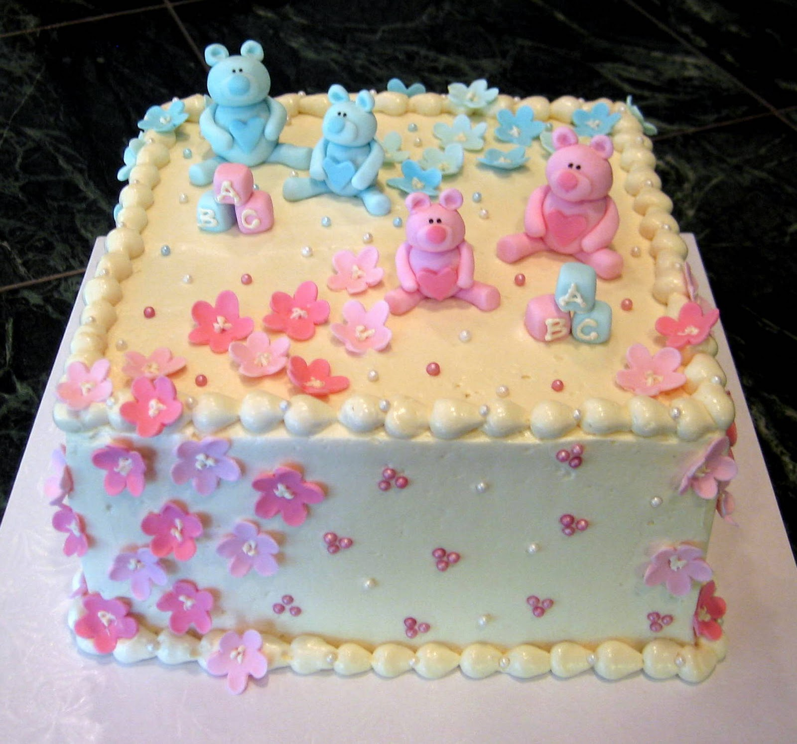 Twin Boy & Girl Baby Shower Cake