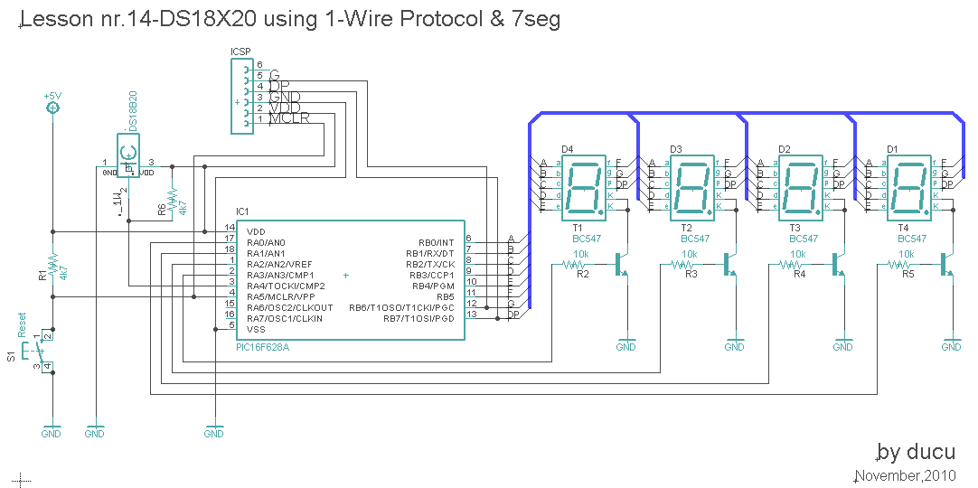 electronic experiments lesson nr 14 ds18b20 using 1 wire protocol here is the c program written for mikroc pro for pic 2010 version v4 15