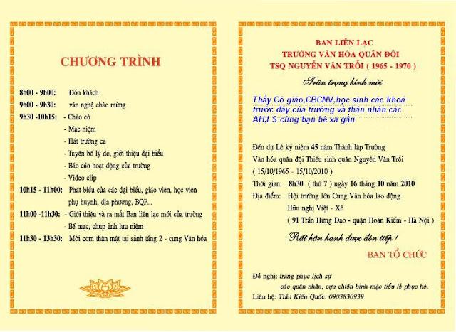 Giấy mời dự kỉ niệm 45 năm trường VHQĐ-TSQ Nguyễn Văn TRỗi tại HN