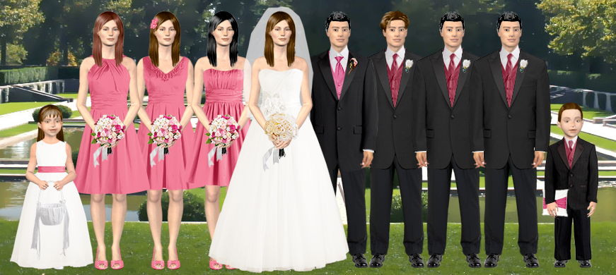 i made a virtual wedding party though with both colors for fun see below