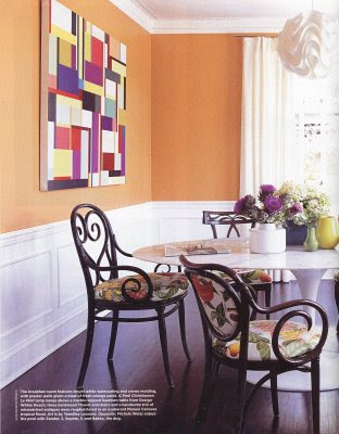 My little happy place he said she said orange for Burnt orange dining room