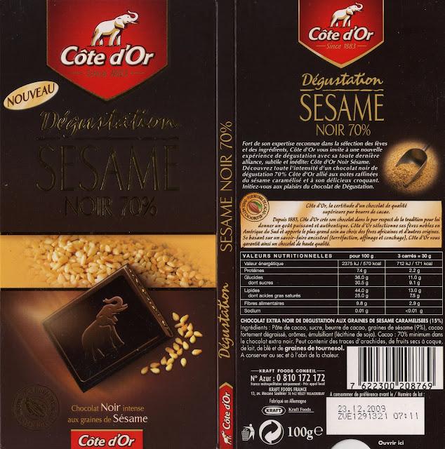 tablette de chocolat noir gourmand côte d'or sésame noir 70