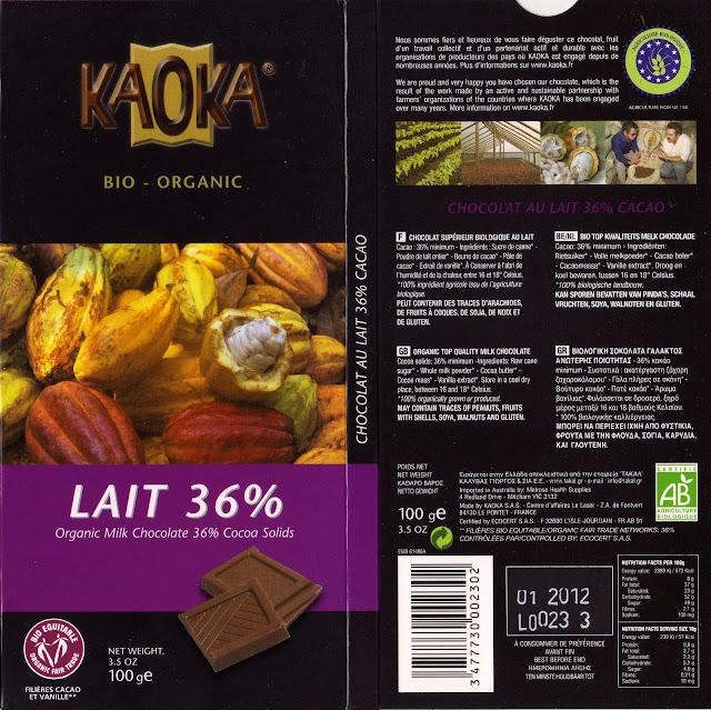 tablette de chocolat lait dégustation kaoka bio organic lait 36