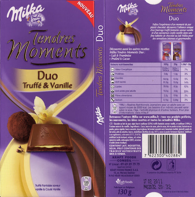 tablette de chocolat lait fourré milka tendres moments duo truffé & vanille