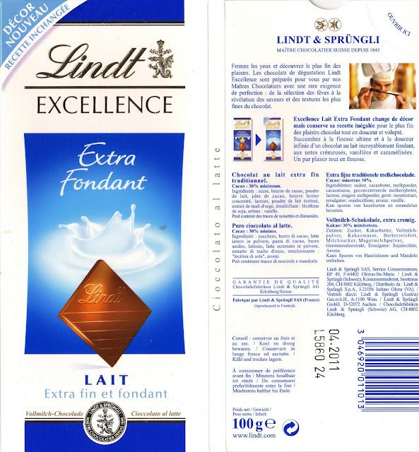 tablette de chocolat lait dégustation lindt excellence extra fondant