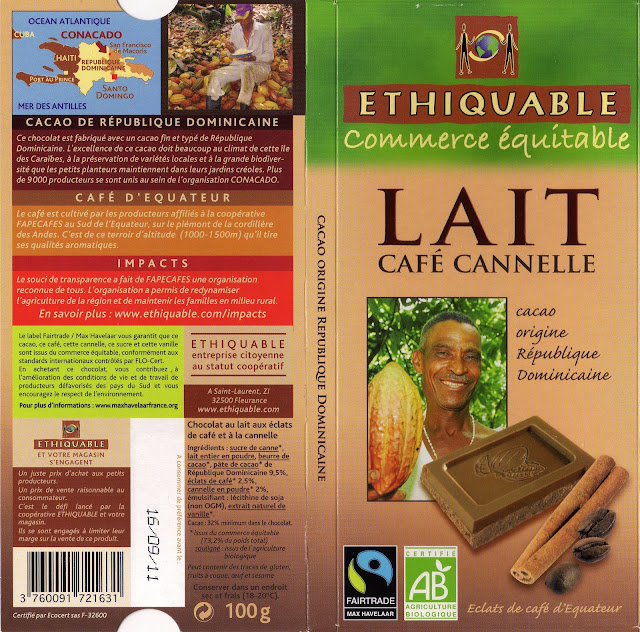 tablette de chocolat lait gourmand ethiquable république dominicaine lait café cannelle