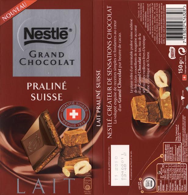 tablette de chocolat lait fourré nestlé grand chocolat praliné suisse
