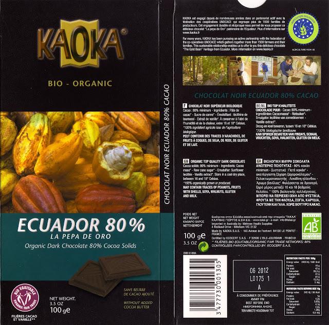 tablette de chocolat noir dégustation kaoka bio organic ecuador 80