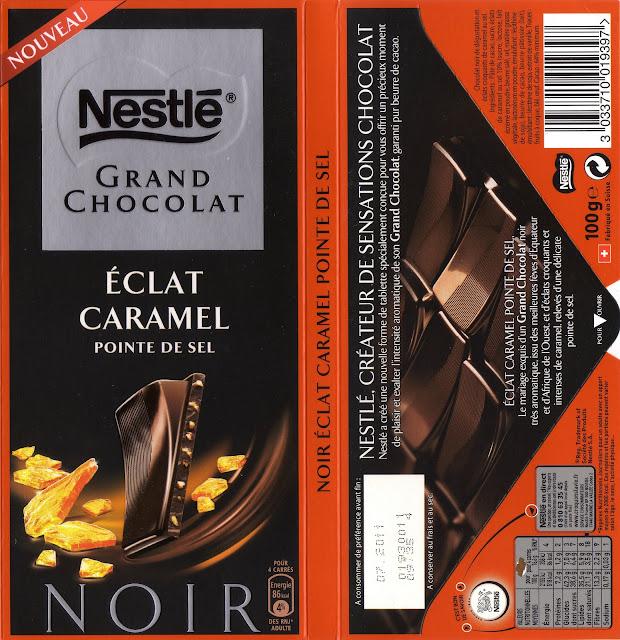 tablette de chocolat noir gourmand nestlé grand chocolat eclat caramel pointe de sel