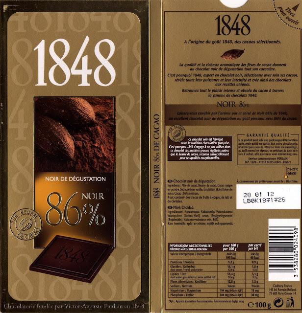 tablette de chocolat noir dégustation poulain 1848 noir de dégustation 86