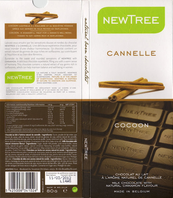 tablette de chocolat lait gourmand newtree cannelle cocoon