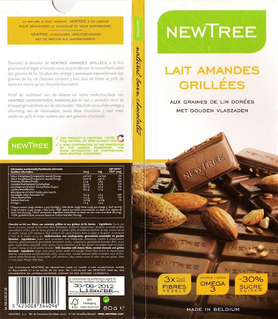 tablette de chocolat lait gourmand newtree lait amandes grillées aux graines de lin dorées