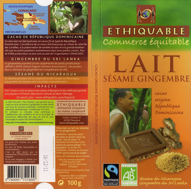 tablette de chocolat lait gourmand ethiquable république dominicaine lait sésame gingembre