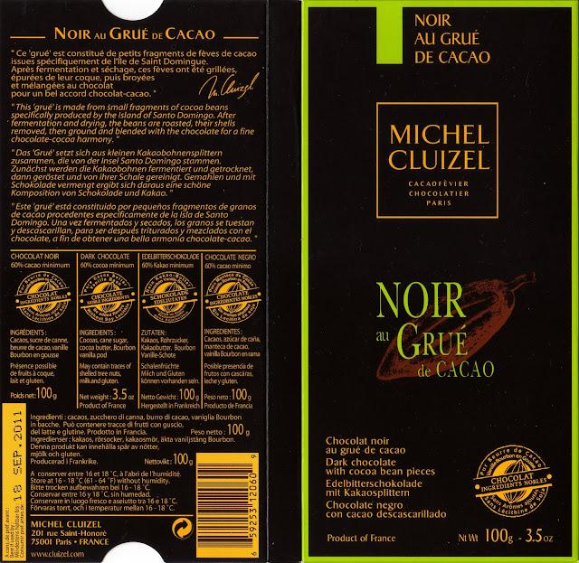 tablette de chocolat noir gourmand michel cluizel noir au grué de cacao