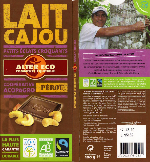 tablette de chocolat lait gourmand alter eco pérou lait cajou