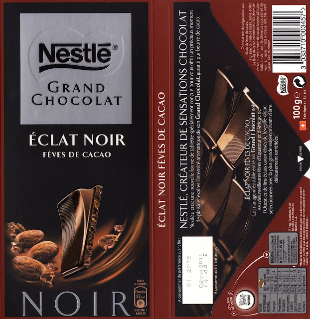 tablette de chocolat lait gourmand nestlé grand chocolat fèves de cacao finement caramélisées