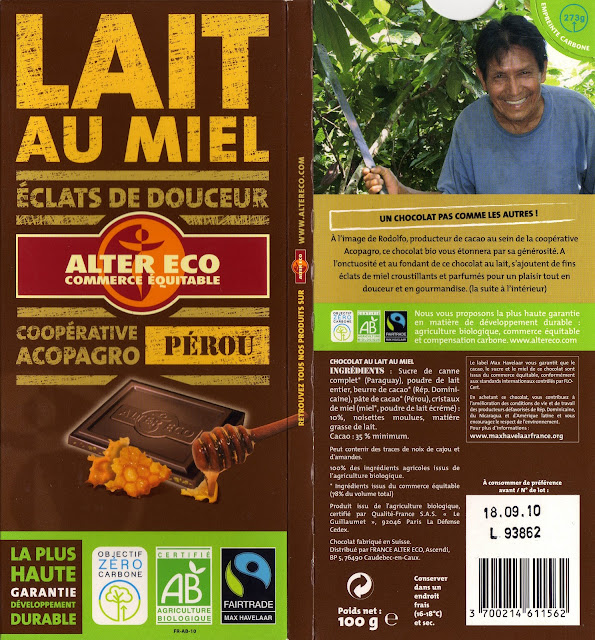 tablette de chocolat lait gourmand alter eco pérou lait au miel