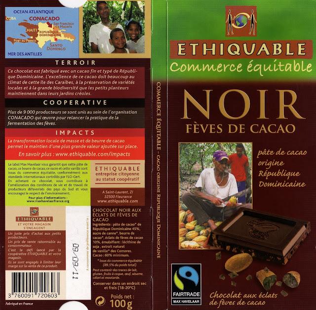 tablette de chocolat noir gourmand ethiquable république dominicaine noir fèves de cacao