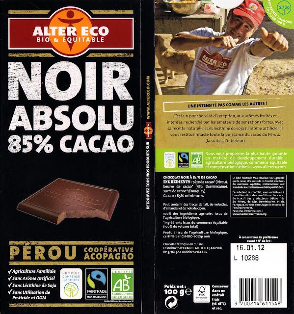 tablette de chocolat noir dégustation alter eco pérou noir absolu 85