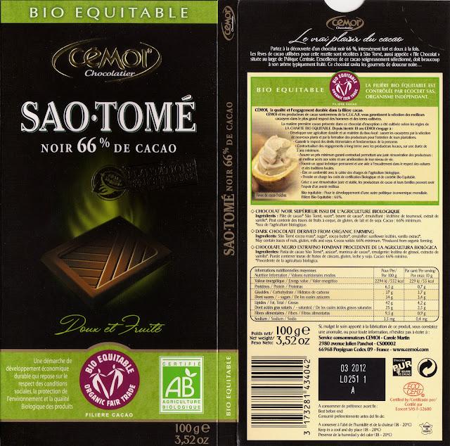 tablette de chocolat noir dégustation cémoi sao tomé noir 66