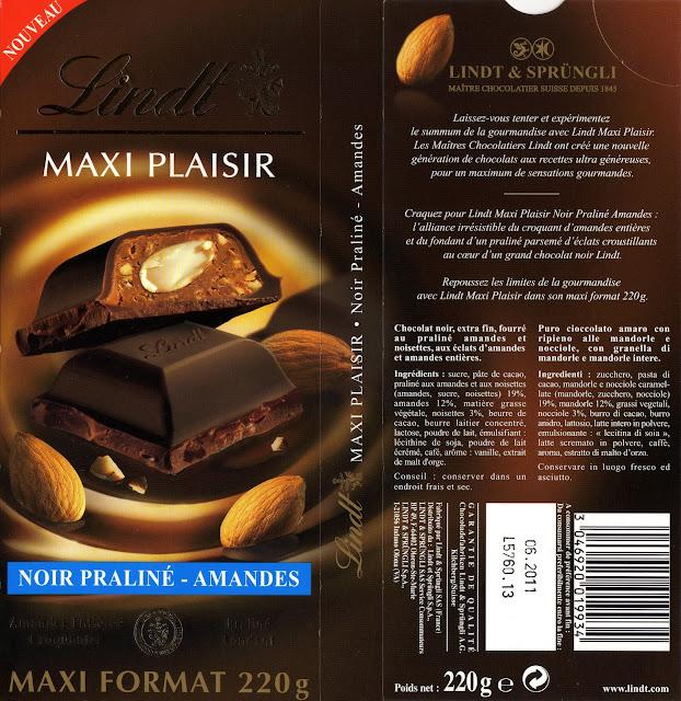 tablette de chocolat noir gourmand lindt maxi plaisir praliné amandes