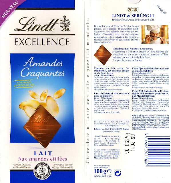 tablette de chocolat lait gourmand lindt excellence amandes craquantes