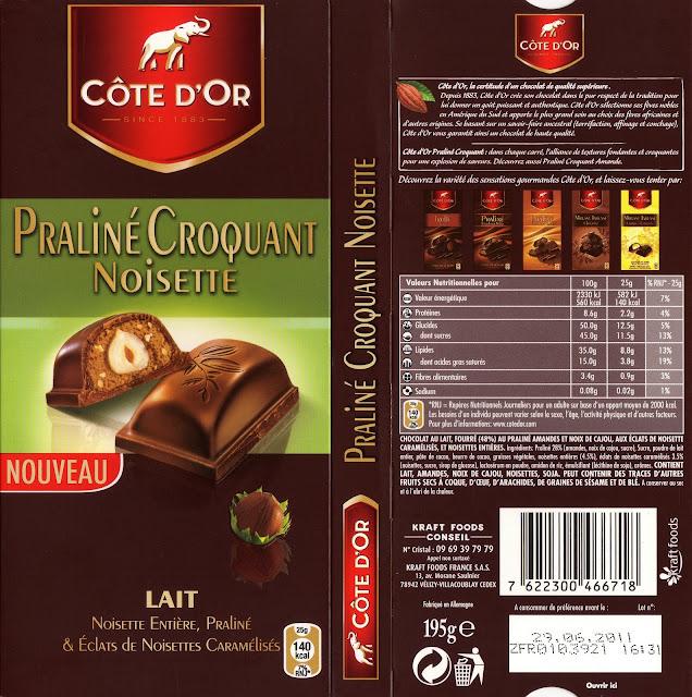 tablette de chocolat lait gourmand côte d'or lait praliné croquant noisette