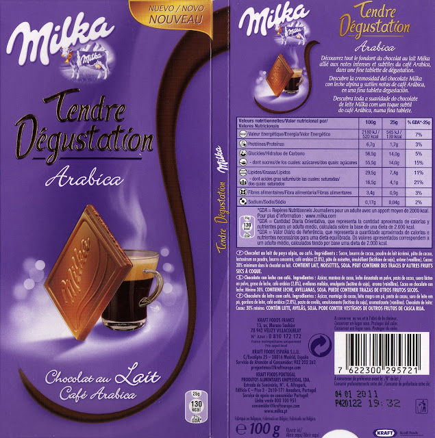 tablette de chocolat lait gourmand milka tendre dégustation arabica