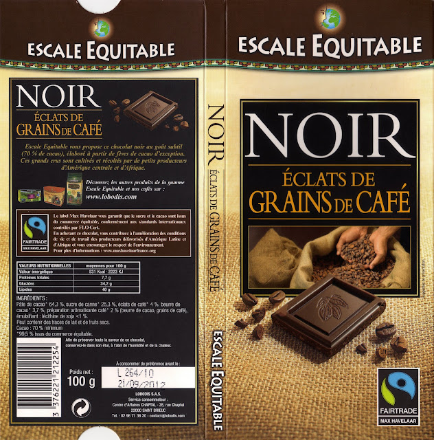 tablette de chocolat noir gourmand escale equitable noir eclats de grains de café