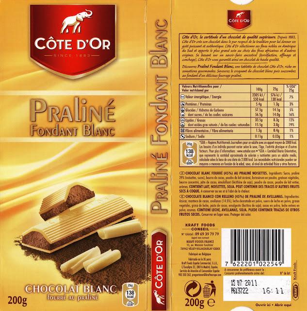 tablette de chocolat blanc fourré côte d'or praliné fondant blanc