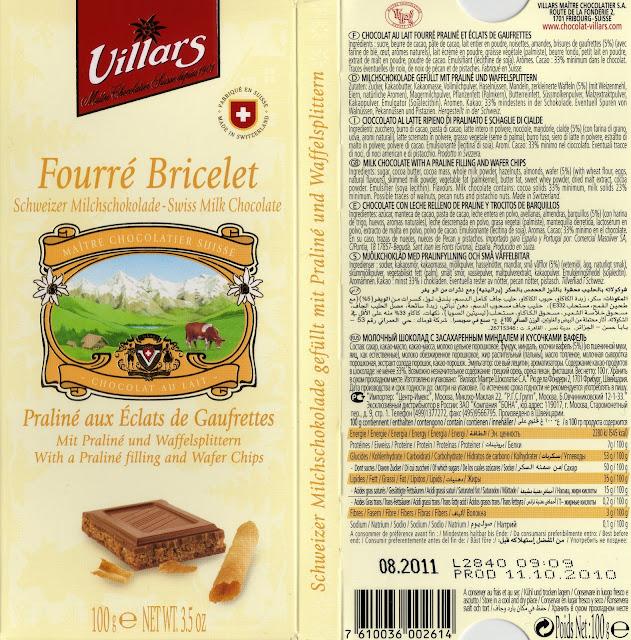 tablette de chocolat lait fourré villars lait fourré bricelet praliné aux eclats de gaufrettes