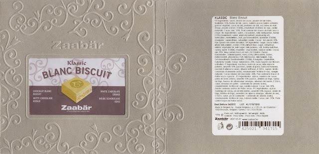 tablette de chocolat blanc gourmand zaabär klassic blanc biscuit