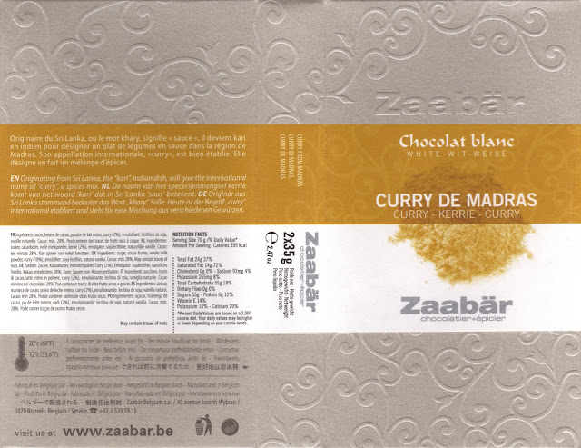 tablette de chocolat blanc gourmand zaabär blanc curry de madras