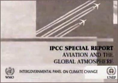 Cover dell'IPCC report. Notare gli aerei con scia al seguito...