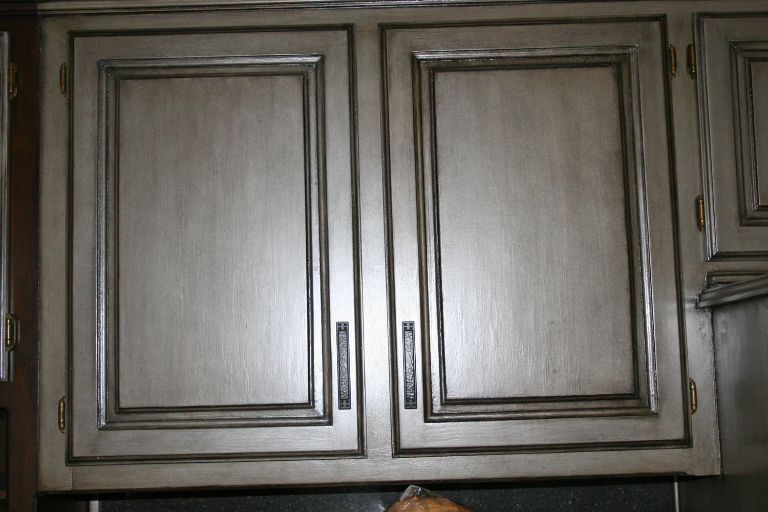 Black Gray Stained Cabinets with Glaze