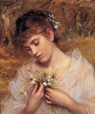 Loveinamist Flowers on Love In A Mist   Sophie Gengembre Anderson   1823 1903