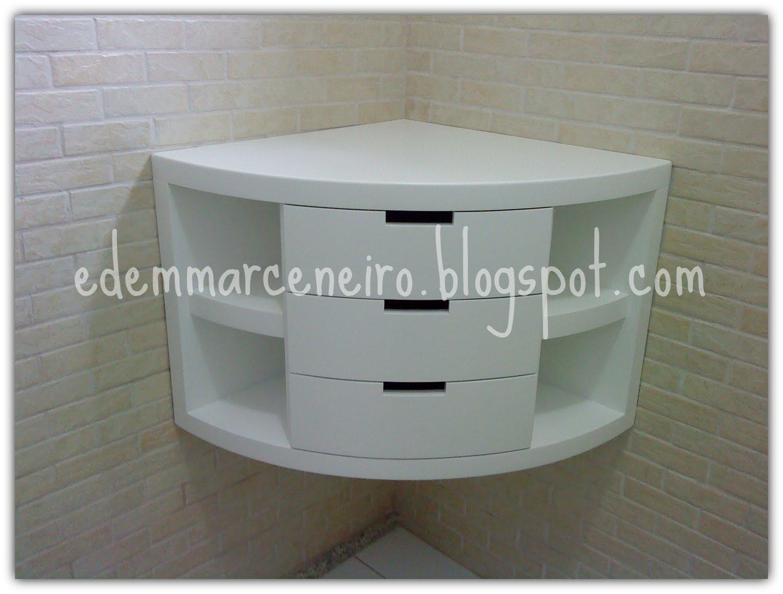 Armário de canto em curva para banheiro  Edem Marceneiro -> Armario De Banheiro Canto