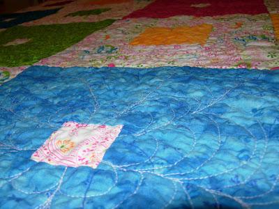 Garden Squares quilt, textural view