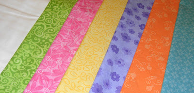 fabrics for my Pinwheel Party quilt