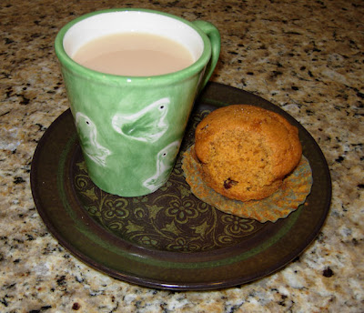 pumpkin-cranberry muffin and a cup o' tea
