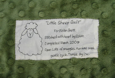 Little Sheep Quilt label