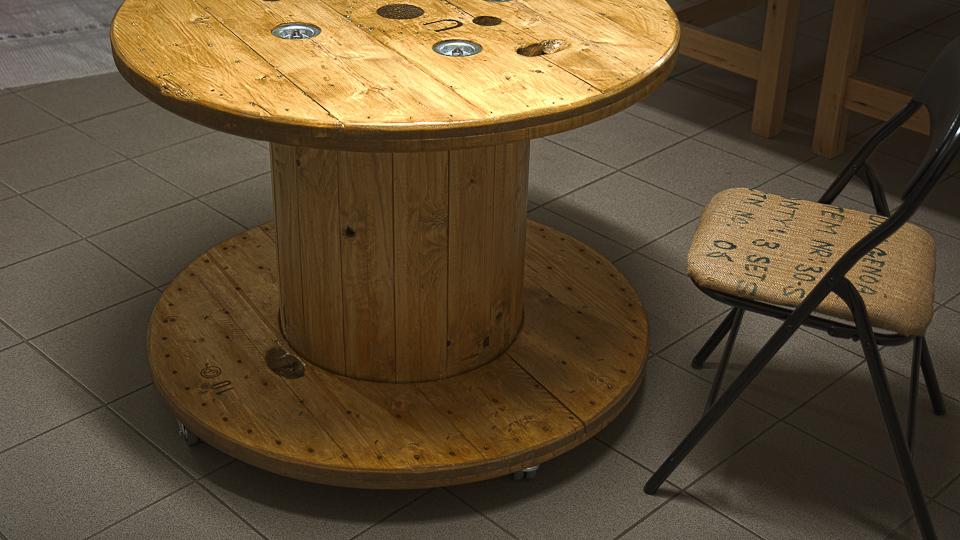 Recycall: tavolino con bobina cavi elettrici