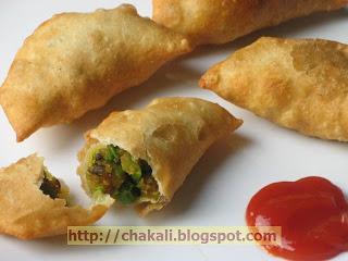 matar karanji, matar batata karanji, mutter karanji, matar karanjee recipe, recipe for matar karanji, karanji recipe, potato peas snack