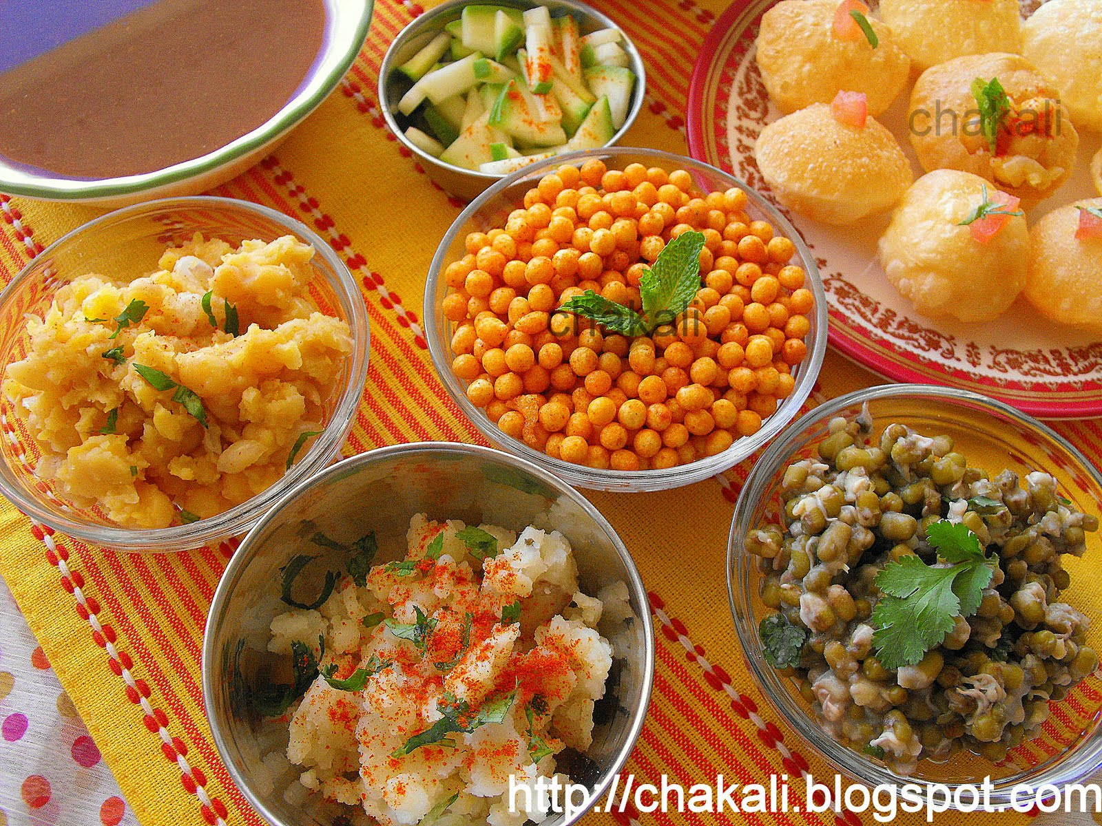 variety of stuffing like boondi, boiled potato, mung for panipuri