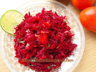 beetroot recipe, indian beetroot recipe, beetachi koshimbir, healthy salad recipe, oilfree food recipe, oilfree recipes