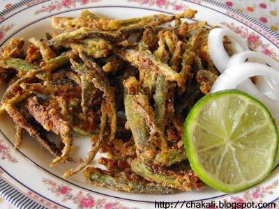 crispy okra, fried bhindi, fried okra, crispy bhendi, okra recipe, fritters