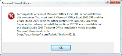 A compatible version of Excel 2003 is not installed on this computer