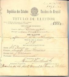 Título de eleitor do início do século