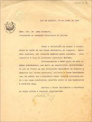 Carta de Getúlio Vargas ao então Presidente da ABL, Dr. Levi Carneiro. (Rio de Janeiro, 26 de julho