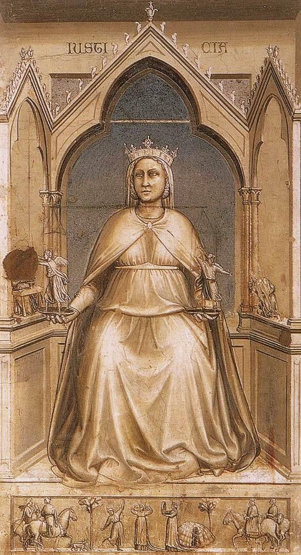 Giotto di Bondone Seven virtues Justice 1306
